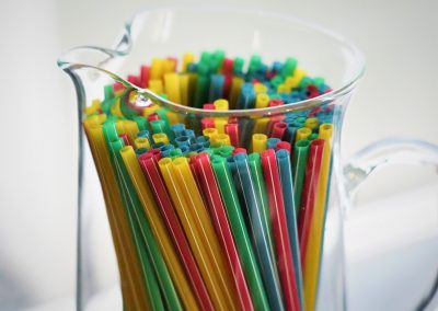 White Stripe Colored Straw
